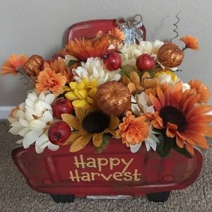 Fall handmade Floral Red Truck display